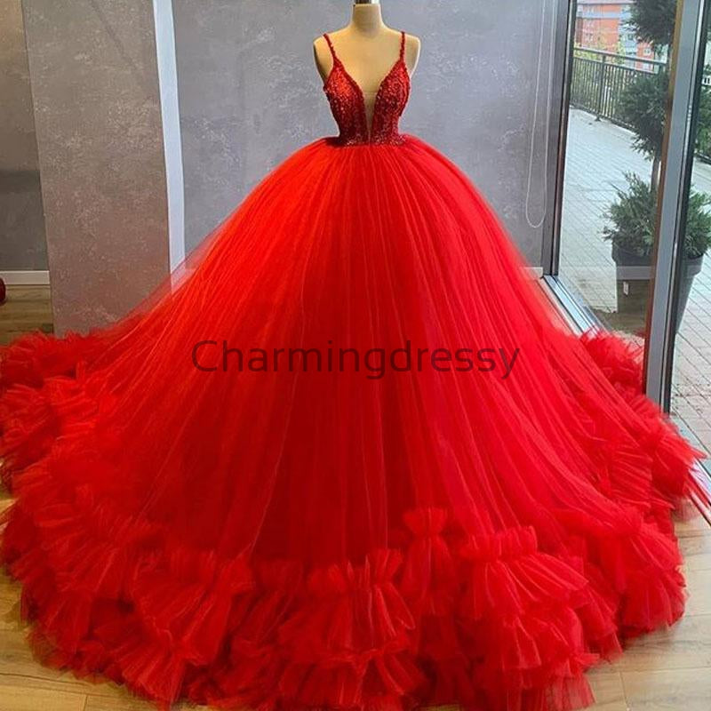 A-line Red Spaghetti Straps Tulle Gorgeous Prom Dresses, Ball Gown PD1990