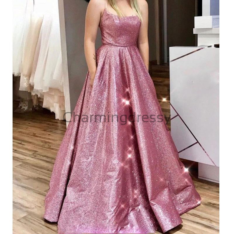 A-line Spaghetti Straps Pink Sequin Simple Modest Prom Dresses PD1999