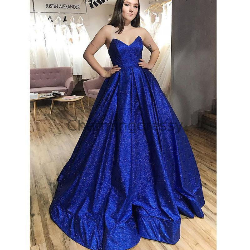 A-line Stapless Royal Blue Gorgeous Popular Sparkly Prom Dresses PD2135