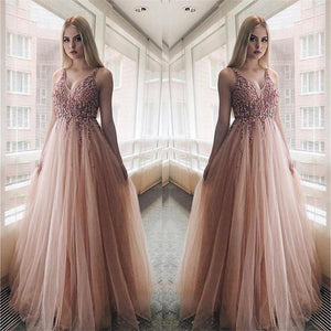 A-line V -neck Sequined Tulle Modest Elegant Pretty Prom Dresses,Evening Dress, PD1036 - SposaBridal