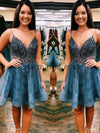 A-line V-Neck Spaghetti Straps Lace Short Homecoming Dresses BD0438