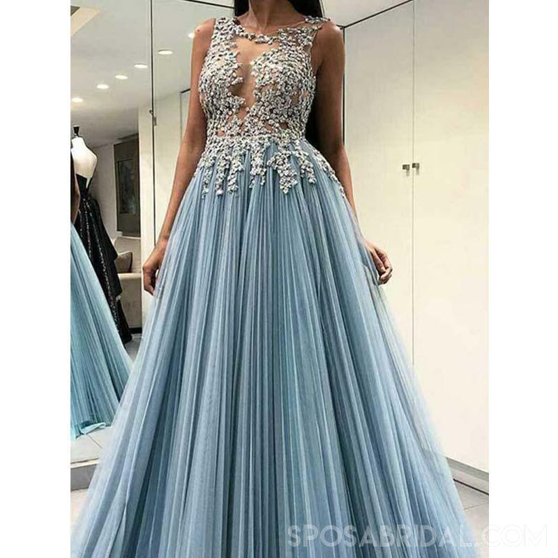A Line Open Back Light Blue Round Neck Long Popular Tulle Prom Dresses With Appliques , PD1127