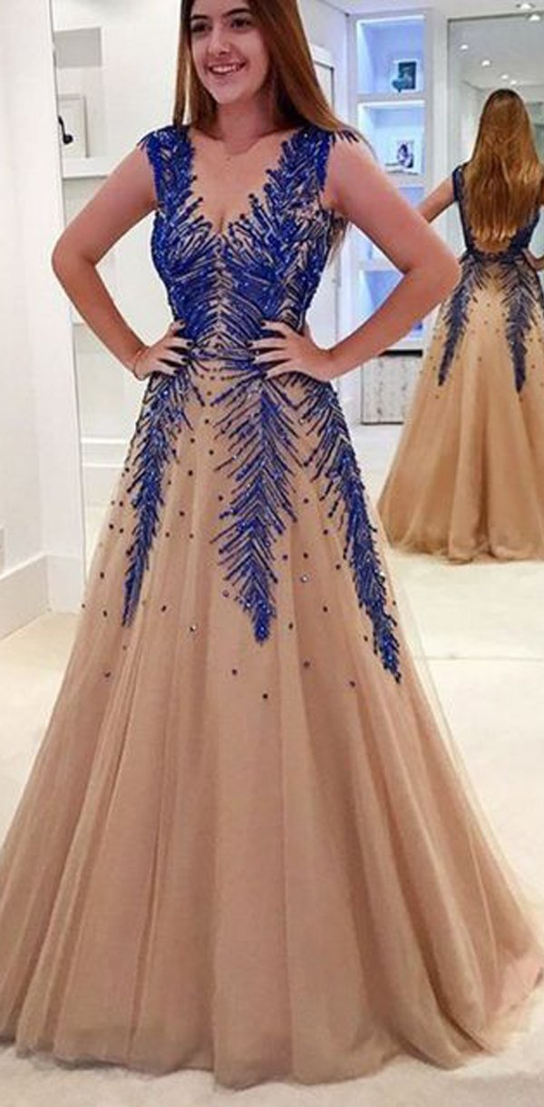 3173f054c84 A Line V Neck Modest Elegant Hot Champagne Tulle Long Appliques Beading  Prom Dresses