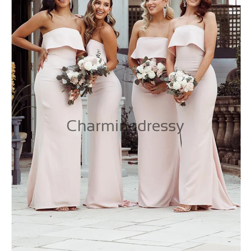 Affordable Strapless Mermaid Elegant Modest Bridesmaid Dresses WG682