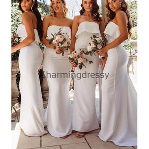 Affordable Strapless Mermaid Simple Modest Bridesmaid Dresses WG683