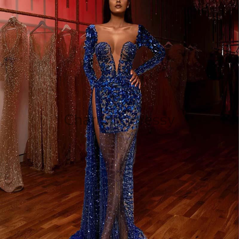 Affordable Blue Elegant Long Sleeves Sparkly Mermaid Formal Prom Dresses PD1972
