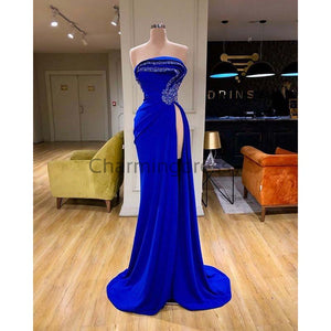 Affordable Blue Elegant Mermaid Unique High Neck Fomal Prom Dresses PD1975