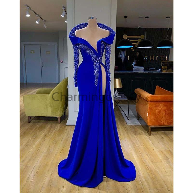 Affordable Blue Elegant Mermaid Unique Long Sleeves Fomal Prom Dresses PD1976