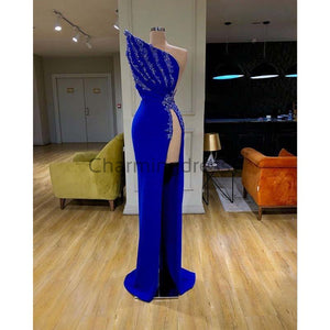 Affordable Blue Elegant Mermaid Unique Sexy Fomal Slit Prom Dresses PD1978