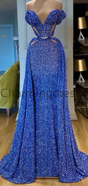 Affordable Blue Elegant Sleeveless Sequin Sparkly Formal Prom Dresses PD1979