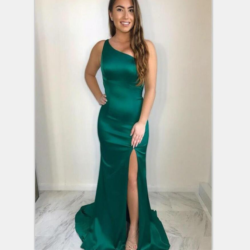 Affordable Mermaid One Shoulder Open Back Green Satin Prom Dresses with Split  , PD0856 - SposaBridal