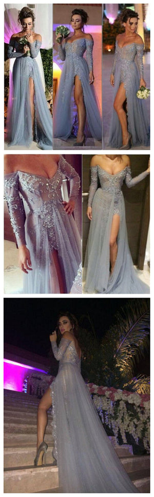 Long  Off Shoulder V-neck  Side Slit Sexy Popular Prom Dresses ,Evening Occasion Dresses, PD0021
