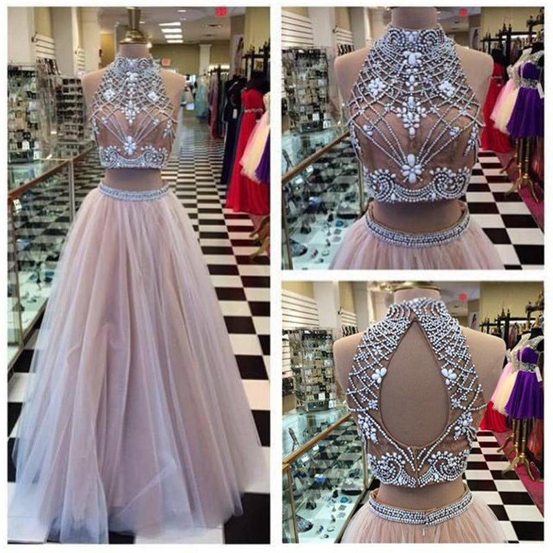 Two Piece  High Neck Pretty Open Back Popular Fashion Charming Prom Dresses Online,PD0115