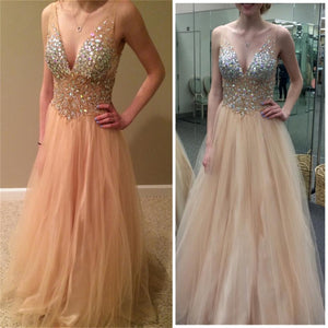 V-Neck Sexy Tulle Sparkle Party Evening Long Prom Dresses Online,PD0127