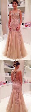 Tulle Sexy Off Shoulder Back See-through Newest Evening Long Prom Dresses Online,PD0134
