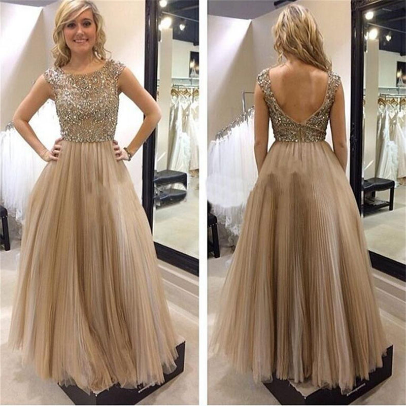 Tulle Open Back Fashion Charming Newest Evening Long Prom Dresses Online,PD0135