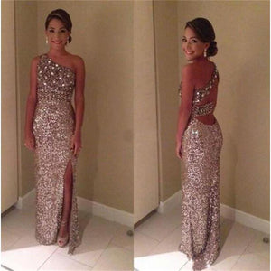 One Shoulder Sparkle Sequin Party Cocktail Evening Long Prom Dresses Online,PD0143
