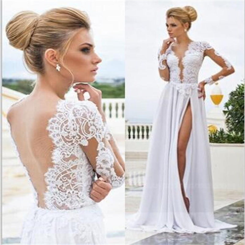 V-Back Side Slit White Sexy Evening Long Prom Dresses Online , Cheap Wedding Dresses ,PD0152