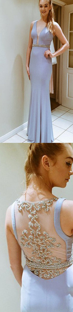 Deep V-Neck Side Slit Pretty  See-through Back Cocktail Evening Long Prom Dresses Online,PD0157