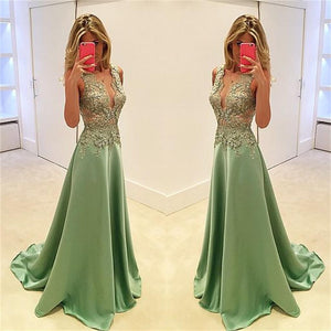 Deep V-Neck Stunning A-line Sexy Fashion Cocktail Evening Long Prom Dresses Online,PD0160