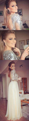 Long Sleeves Sequined Open Back Cheap Party Cocktail Evening Long Prom Dresses Online,PD0172