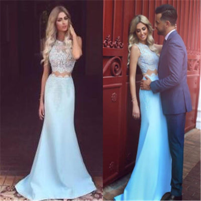 Two Pieces Strapless Mermaid Fashion Party Cocktail Evening Long Prom Dresses Online,PD0190