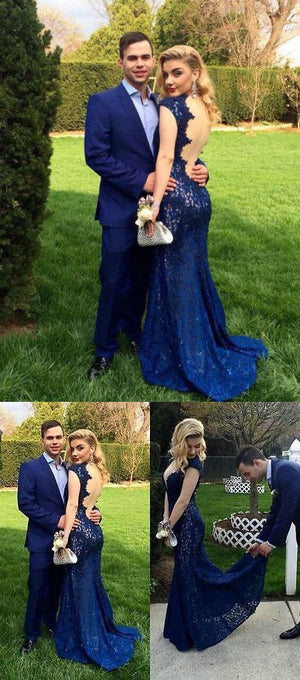 Royal Blue Backless Lace Formal Party Cocktail Evening Long Prom Dresses Online,PD0196