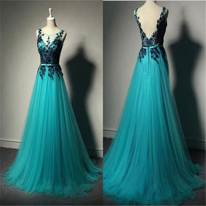 Tulle V-Back Floor-length Custom Party Cocktail Evening  Long Prom Dresses Online,PD0202