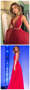 Red Backless  Hot pink Chiffon Simple Sexy Cheap Custom Prom Dresses,PD0025