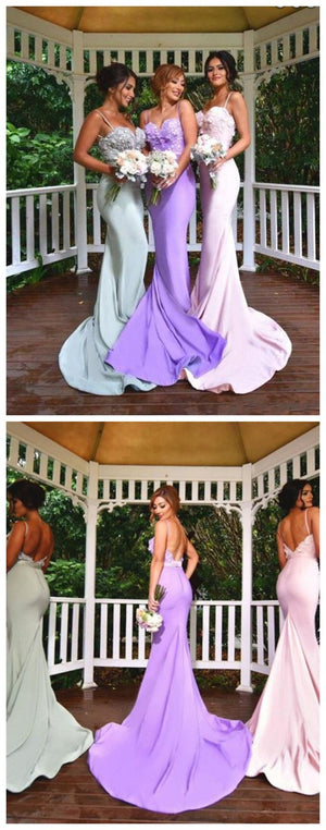 Spaghetti Straps Prom Dresses,Mermaid Popular  Sexy Custom Bridesmaid Dresses,PD0036
