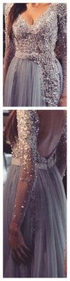 Backless Long sleeve Grey Lace  V-Neck Popular Hot Sales Custom Prom Dresses,PD0038