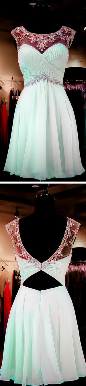 Mint Green Beaded Open back Sexy Backless Homecoming Dresses, Sweet 16 Cocktail Dresses,PD0005
