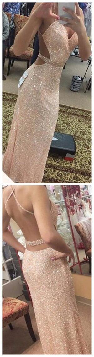 Sexy Backless Sequined Mermaid Evening Spaghetti Straps Long Prom Dress , PD0051