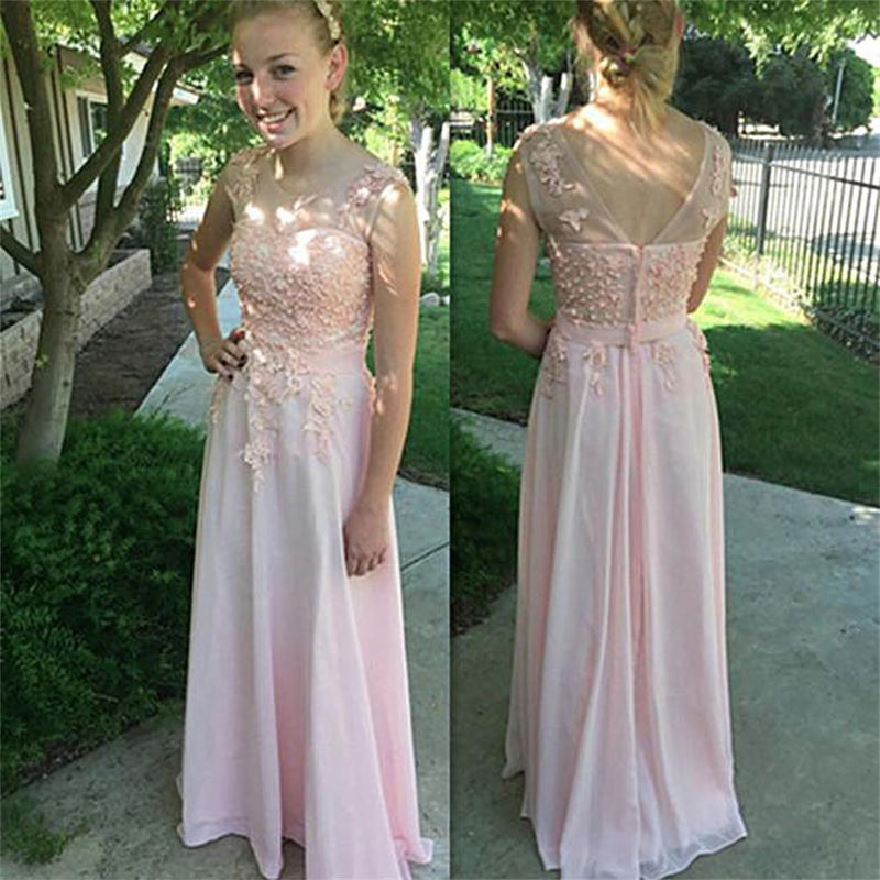 Pink Scoop Chiffon Cheap Lace AappliquesPretty Party Long Prom Dresses,PD0065