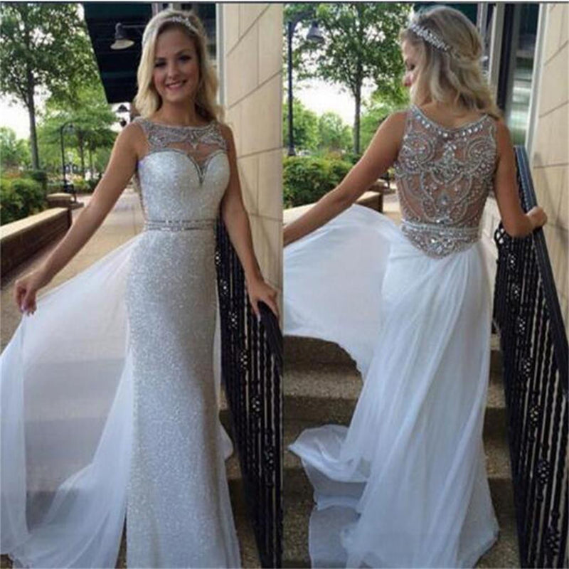White Off Shoulder Sleeveless Sparkle Elegant Discount Rhinestone Newest Prom Dresses ,PD0092