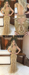 Beading Shinning Gold Sparkly Prom Dress, See-through Tulle Prom Dresses, Fashion Evening Dress, PD0315