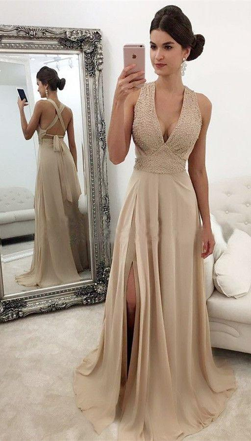 Beautiful Chiffon V-neck A-line Modest Charming Beading Prom Dresses,2019 prom dress,PD0818 - SposaBridal