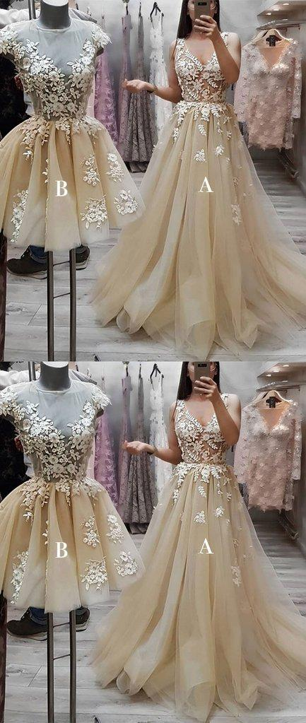 Beautiful Lace Applique  Unique Cheap Discount Formal Prom Dresses , PD0878 - SposaBridal