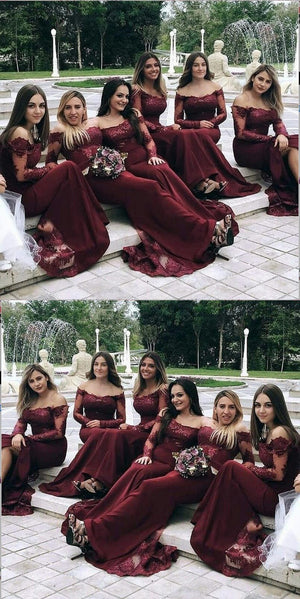 Best Cheap Modest Sexy Unique Mermaid Burgundy Off Shoulder Long Sleeves  Hot Sale Elegant Discount Bridesmaid Dresses, WG263