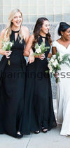 Black Halter Modest Formal Long Beach Bridesmaid Dresses WG847