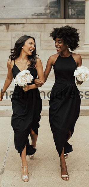Black Mismtched Long Formal Beach Bridesmaid Dresses WG848