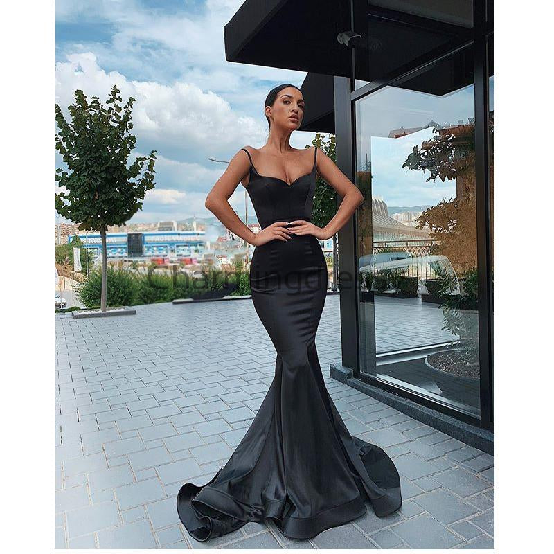 Cheap Black Satin Mermaid Simple Formal Prom Dresses with slit PD2169