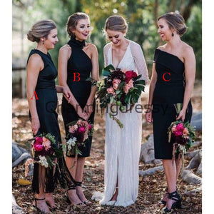 Black Short Mismatched Elegant Simple Bridesmaid Dresses WG849