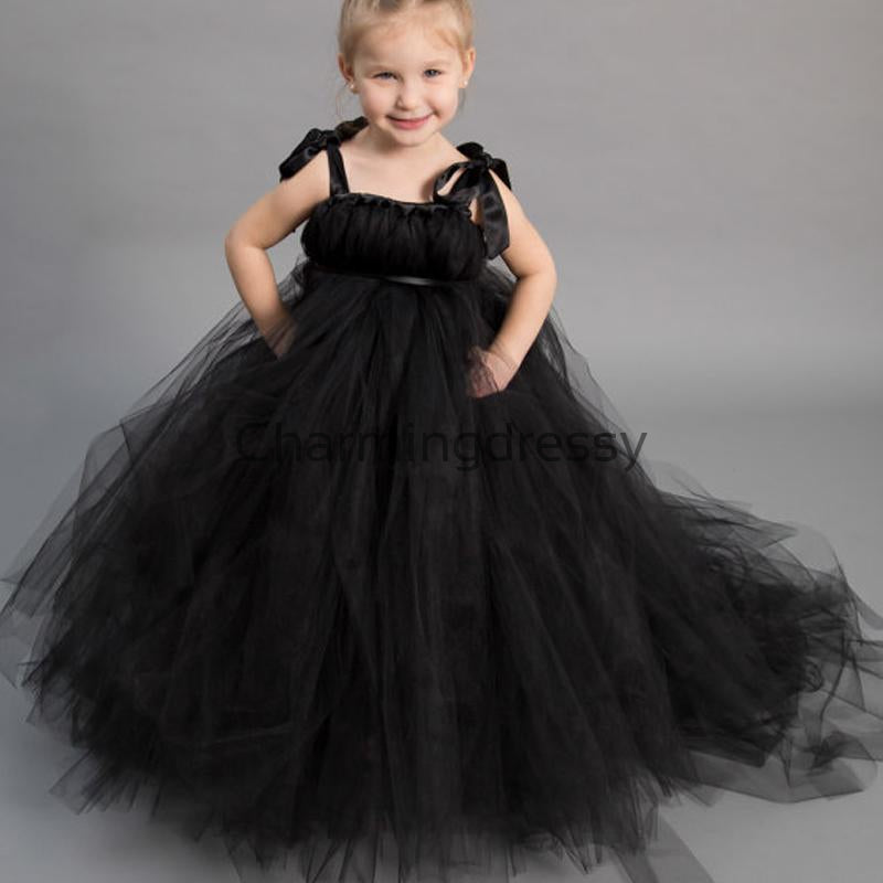 Black Tulle Cute Junior Lovely Custom Flower Girl Dresse, FG133