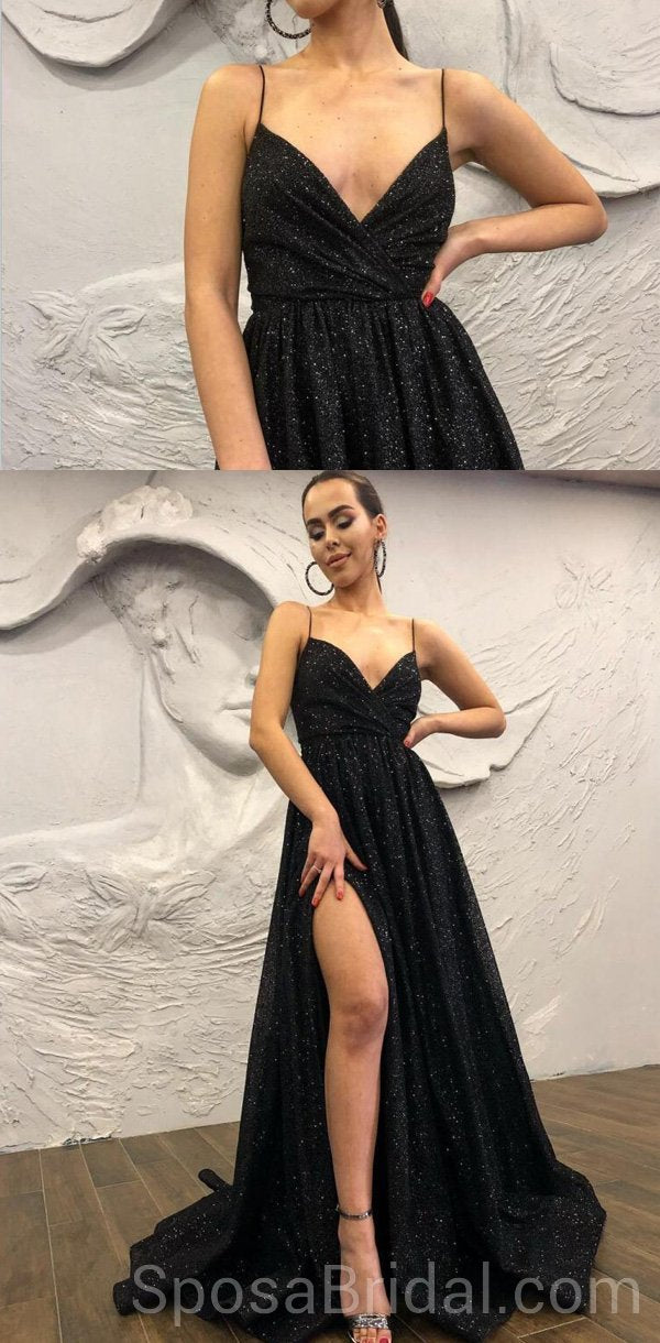 0fec888a698 Black Chamring Spaghetti Strap Side Slit Sparkly Sequin Modest Cheap Elegant  Formal Long Prom Dresses