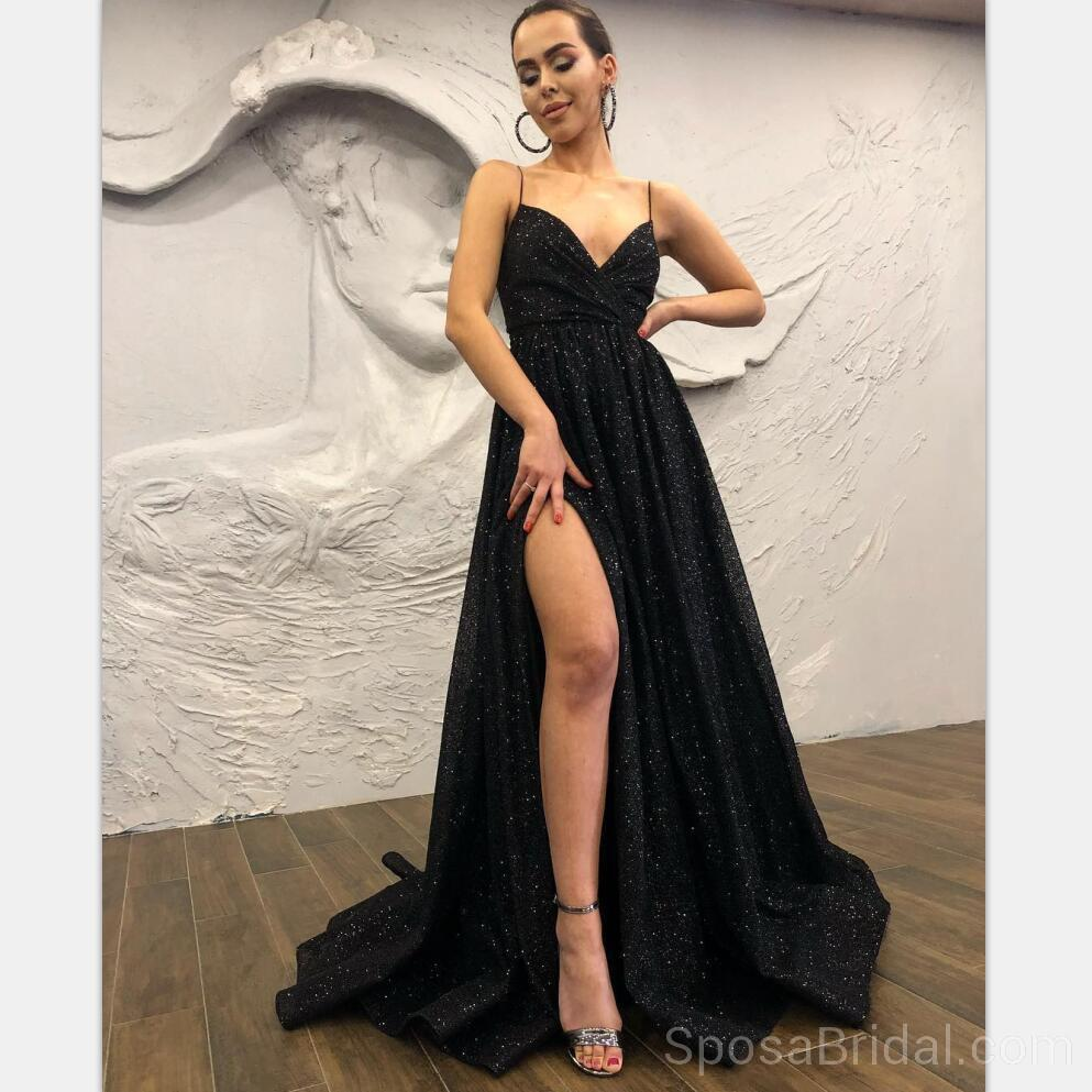 63951a04bdc1 Black Chamring Spaghetti Strap Side Slit Sparkly Sequin Modest Cheap  Elegant Formal Long Prom Dresses,