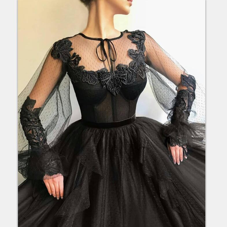 Black Long A-line Prom Dress, Long sleeves Modest Prom Gown ,PD0879 - SposaBridal