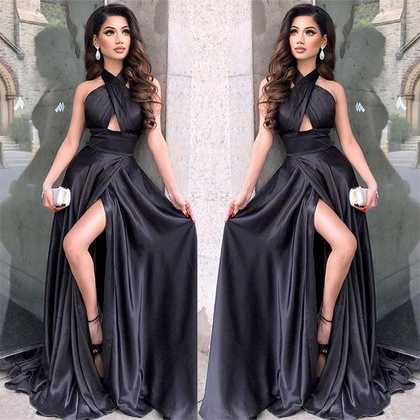 Black Long Modest Elegant Sexy Fashion Simple Prom Dresses,PD1047 ...