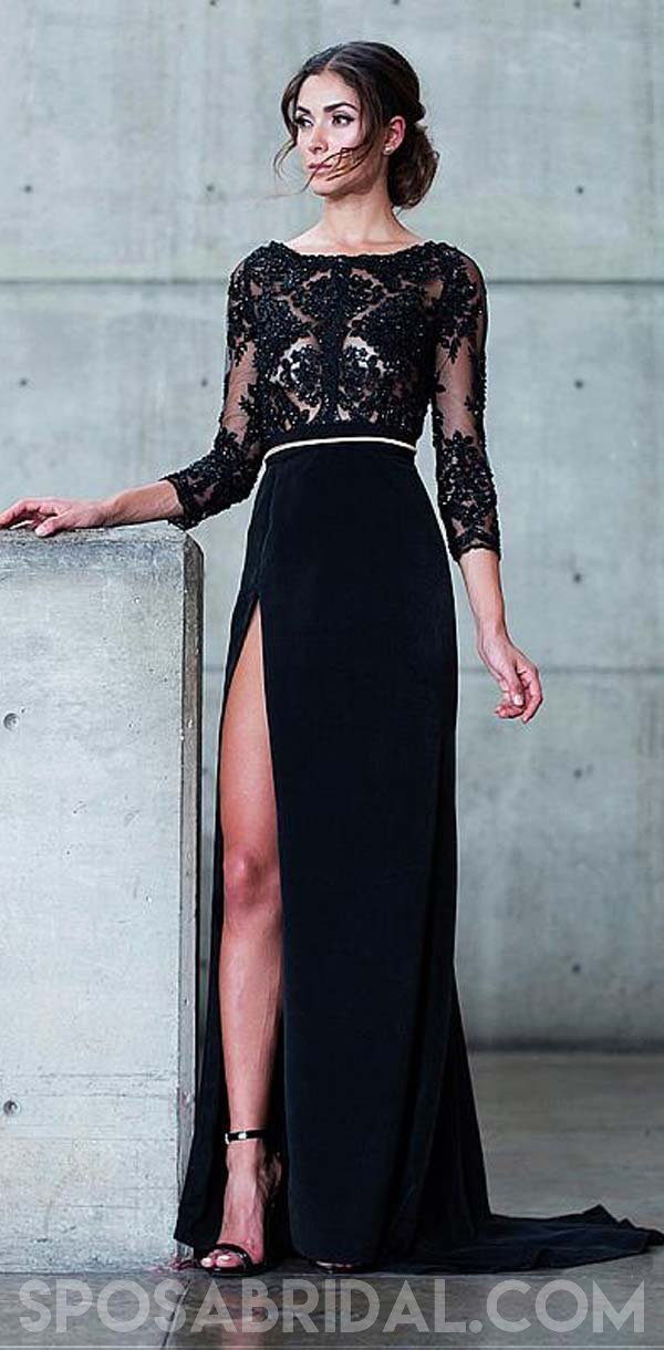 Black Long Sleeves Cheap Open Back Formal High Quality Custom Made Prom Dresses, PD1146