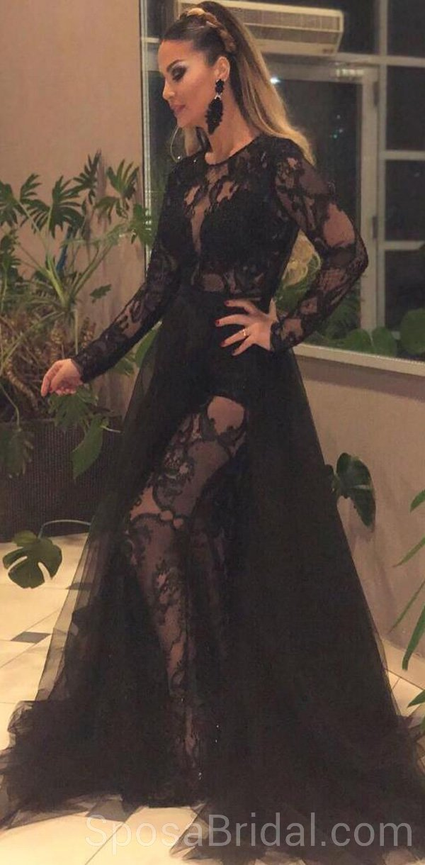 96743be53a9 Black Long Sleeves Lace Tulle Modest Hot Sexy Elegant Long Prom Dresses  online
